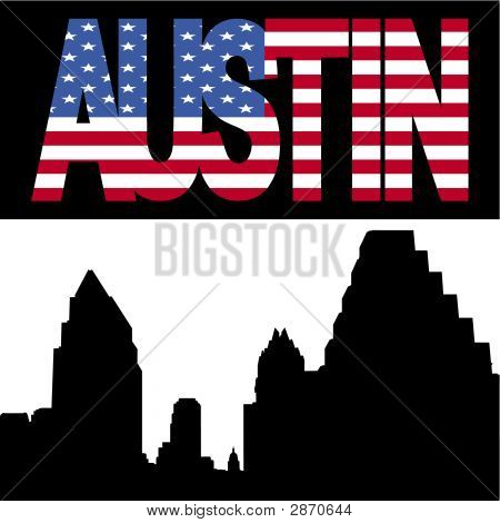 Austin Skyline With Flag Text