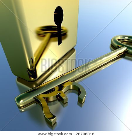 Pound Key With Gold Padlock Showing Banking Savings And Finance