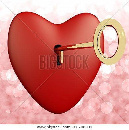 Heart With Key And Pink Bokeh Background Showing Love Romance An