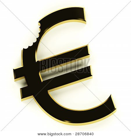 Euro With Bite Showing Devaluation Economic Crisis And Recession