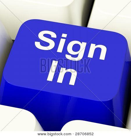 Firmar en llave de computadora en azul mostrando web Login