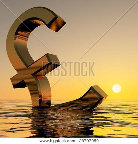 Libra hundirse en el océano mostrando Econ y recesión de depresión