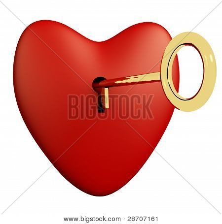 Heart With Key And White Background Showing Love Romance And Val