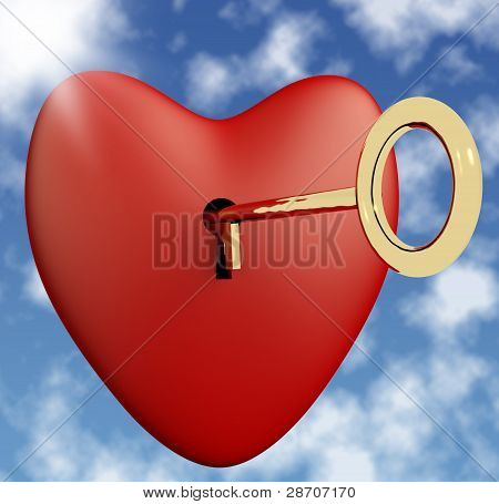 Heart With Key And Sky Background Showing Love Romance And Valen