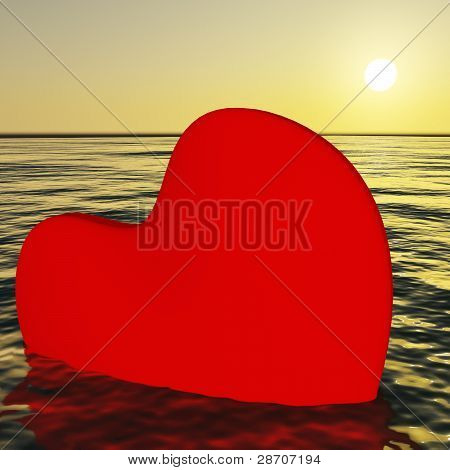 Heart Sinking Showing Loss Of Love And Broken Heart
