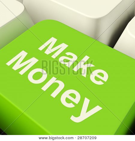 Make Money Computer Key In Green Showing Startup Business And We