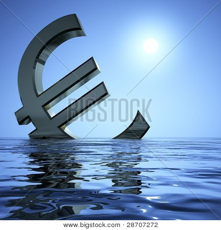 Euro Sinking In The Sea Showing Depression Recession And Economi