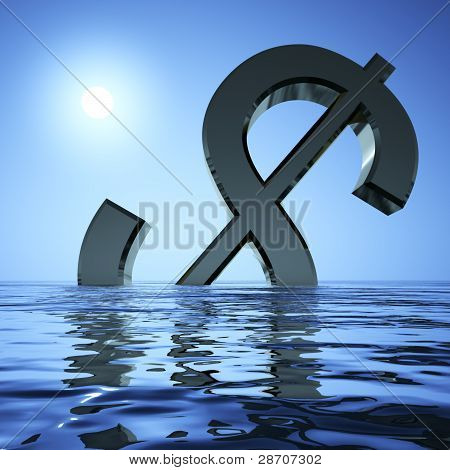 Dollar Sinking In The Sea Showing Depression Recession And Econo