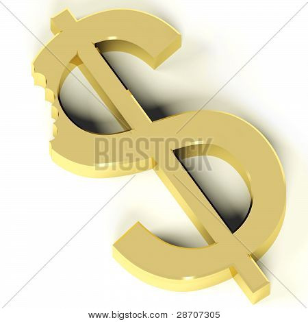 Dollar With Bite Showing Devaluation Economic Crisis And Recessi