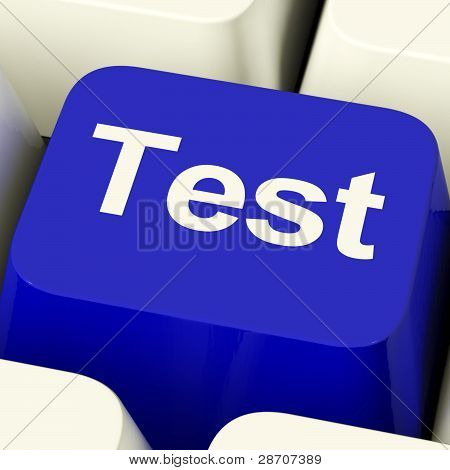 Test Computer Key In Blue Showing Quiz Or Online Questionnaire
