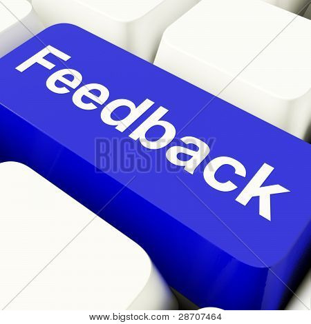 Feedback Computer Key In Blue Showing Opinions And Surveys