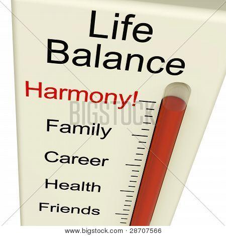 Leben Gleichgewicht Harmonie-Meter zeigt Lebensstil und Stelle Wünsche