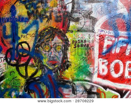 The Lennon Wall in Prague, Czech Republic