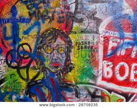 The Lennon Wall in Prague, Czech Republic