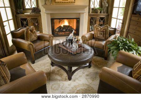 Sala de estar da casa de luxo