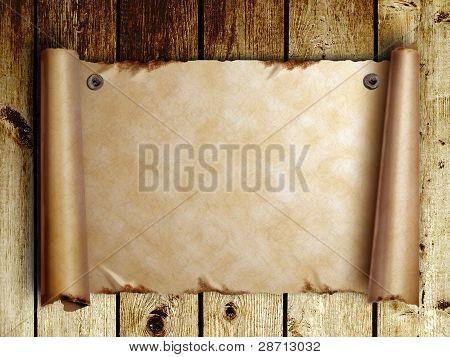 Desplazarse por viejos Pape en tableros de madera
