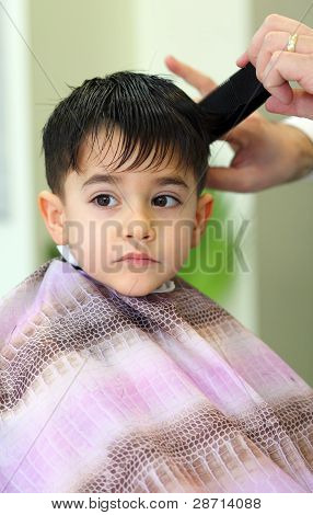 Lovely Child At Hairdresser