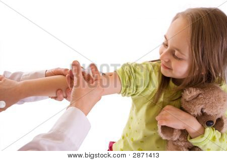 Little Girl Getting An Injection-Studio Shot