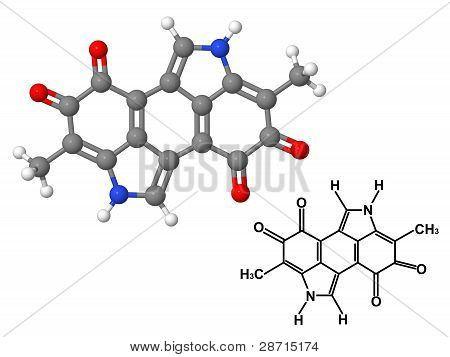 Melanin Molecule With Chemical Formula