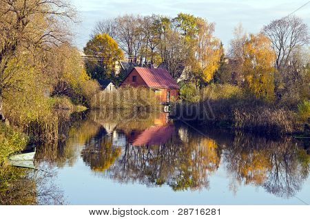 Village Houses Near River. Autumn Trees Water Boat