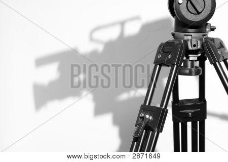Tripod Head And Camera Shadow In Television Studio