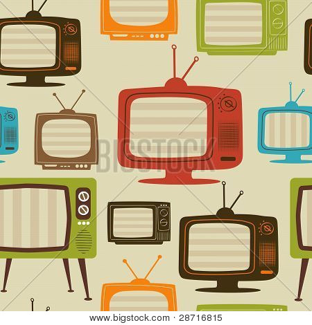 TV retro seamless Pattern. Vektor-Illustration.