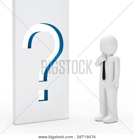Businessman Question Mark Wall