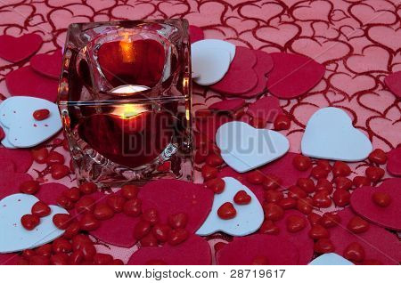 Valentine Candle And Hearts