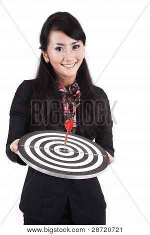 Beautidul Businesswoman Holding Dartboard