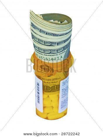 Dollars on a Prescription Bottle