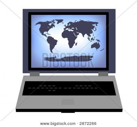World Map Laptop