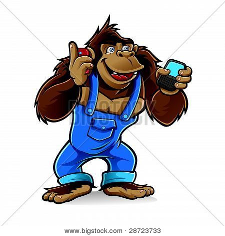 Cartoon Gorilla With Mobile Phones