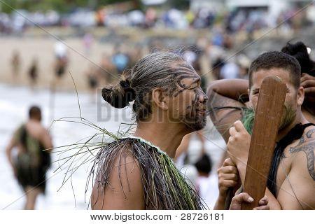 Maori Warrior At A Haka At Waitangi