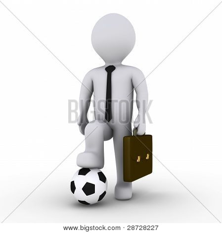 Businessman Ready To Play Soccer