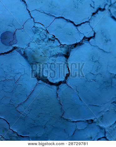 Dried blue painting texture close up view