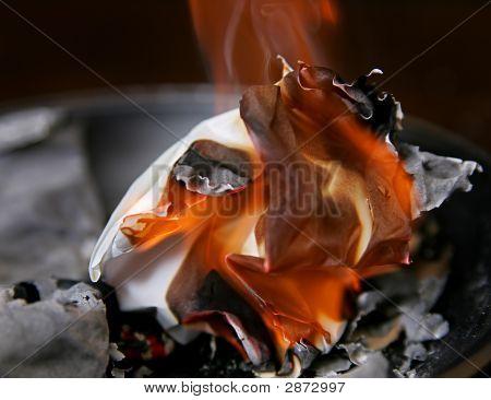 Burning Paper Ash