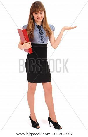 Girl Holds The Red Book. Also Specifies A Hand A Direction.