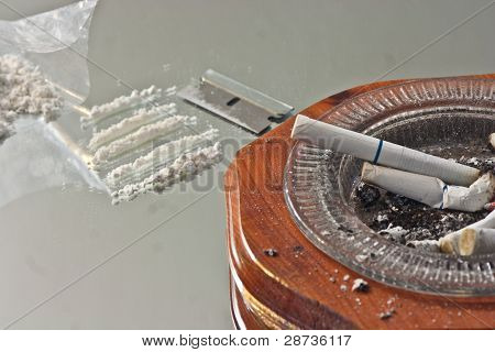 Lines Of A White Powder Drugs On Mirror