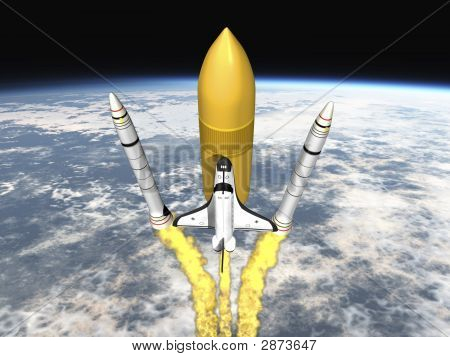 Shuttle Launching From Earth And Seperating