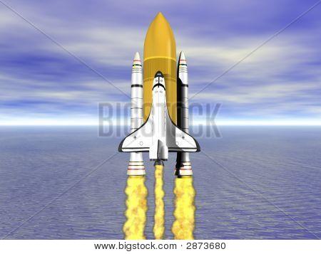 Shuttle Leaving Earth 3D Render