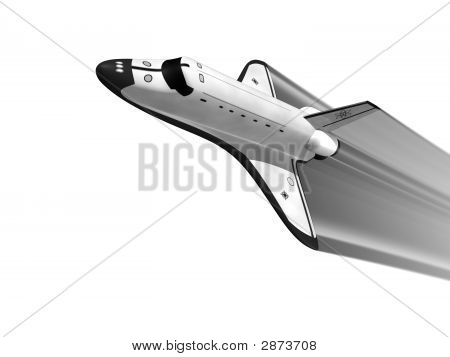 Space Shuttle On White Background With Jet Stream
