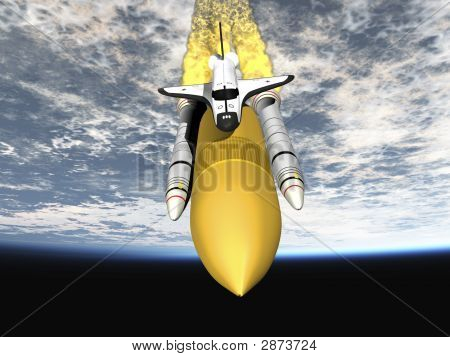 Shuttle Leaving Earth