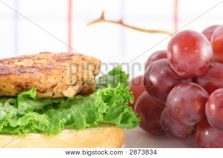 Grilled Chicken Sandwich And Grapes