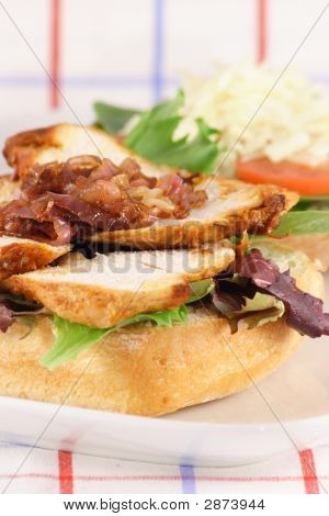 Grilled Chicken And Caramelized Onions Sandwich