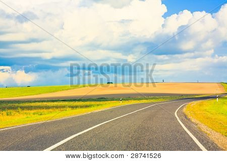 Empty Curved Road, Blue Sky