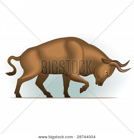 Bull vector illustration in color, financial theme