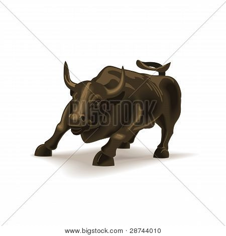 Bull vector illustration in color, financial theme.