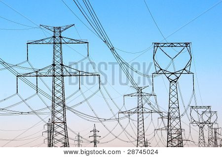 Jungle Of High Voltage  Power Electricity Towers Under Sky