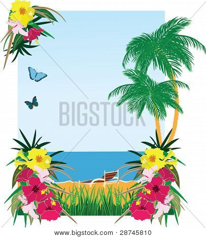 Background with tropical plants