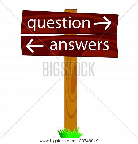 Wooden Signpost For Questions And Answers Vector Illustration